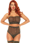2 Pc Lurex Shimmer Spandex Strapless Bandeau Top and Matching High Waist Brazilian Panty - One Size - Black/gold LA-81571