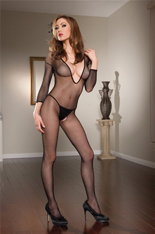 Long Sleeve Body Stocking - One Size - Black STM-20316BLK