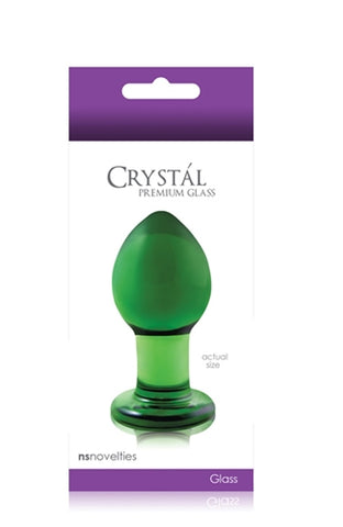 Crystal Premium Glass Plug - Medium - Clear Green NSN0701-28