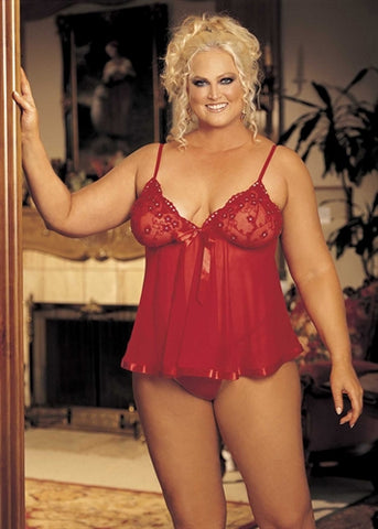 Sequin Embroidery and Sheer Net Babydoll - Queen Size - Red HOT-96121QRED