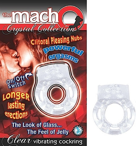 The Macho Crystal Collection Vibrating Cock Ring- Clear NW2369