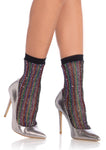 Rainbow Lurex Glitter Fishnet Anklets - One Size LA-3040