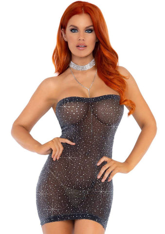 Shimmery Rhinestone Tube Dress - One Size - Black/silver LA-86151BLKSLVR
