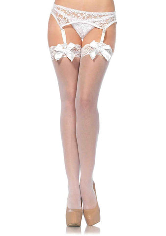Sheer Thigh Hi Lace Top With Satin Bow - White -  One Size LA-1912WHT