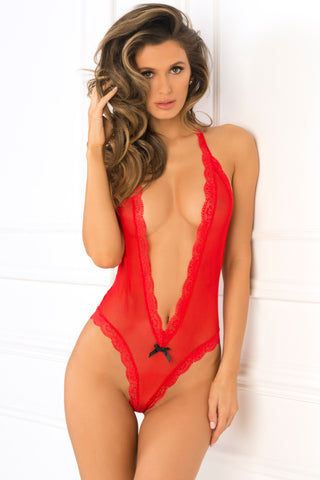 Open Back Lace & Net Teddy - Small/medium - Red RR-502142-REDSM