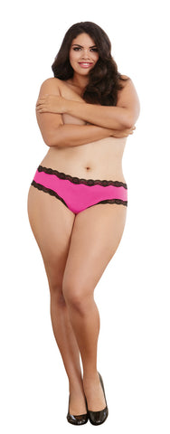 Open Back Panty - 3x - Hot Pink/ Black DG-1434XHPBK3X