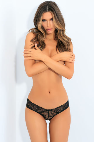 All Tied Up Open Back Panty - Black - M/l RR-1152BLKML
