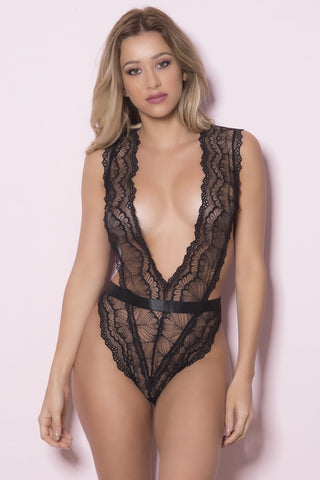 Soft Cup Teddy With Wide Waistband Functional Side Ties and Thong Back - One Size - Black OH-52-10561-BKOS