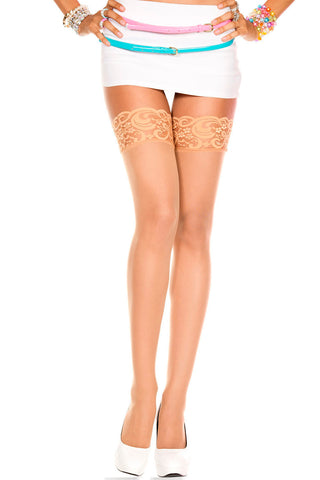 Lace Top Sheer Thigh Hi - One Size - Beige ML-4110-BEIGE