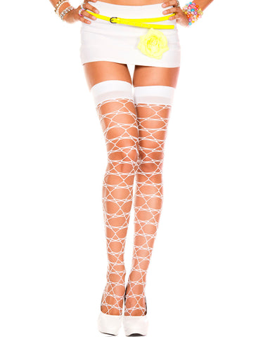 Star Net Thigh Hi - One Size - White ML-4803-WHT