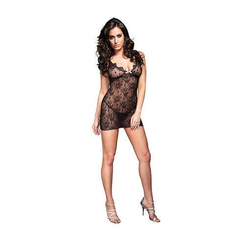 Boudoir Rose Lace Mini Dress - One Size - Black LA-86044