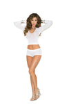 Long Sleeve Opaque Cami and Booty Shorts - One Size - White EM-1524W