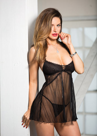 Stretch Lace & Pleated Net Baby Doll - One Size - Black HOT-96619BLK