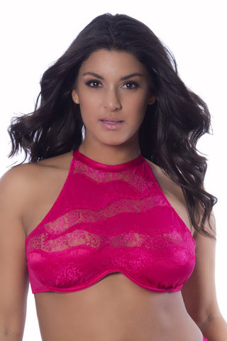 High Neck Bra With Diagonal Eyelash Lace Panels - 3x - Bright Rose OH-11-10644X-BRS3X