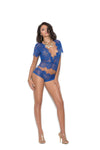 Eyelash Lace Short Sleeve Plunge Cami Top With Matching Panty - Extra Large - Royal Blue EM-3094-XL