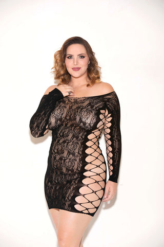 Floral Lace Long Sleeve Chemise - Queen Size -  Black GLTR-32121X