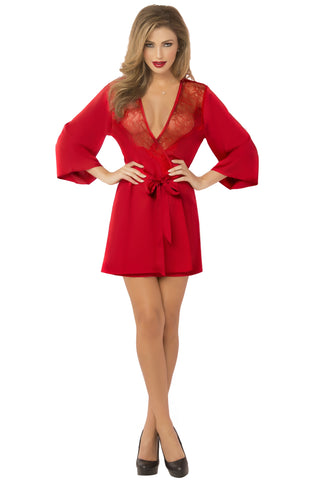 Satin & Eyelash Robe - One Size - Red STM-10695RED