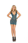 Deep-v Mini Dress - One Size - Blue EM-1579