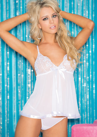 Sequin Embroidery & Sheet Net Babydoll - One Size - White HOT-96121WHT