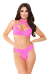 Farah Strappy Bra Top & Panty - Shocking Pink -  Small/ Medium FL-B419PNK-SM
