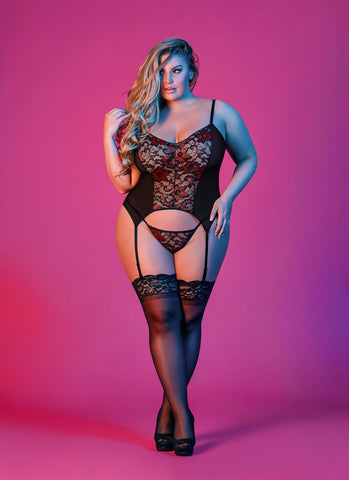 Sexy Time Merry Widow and G-String Set - Black - 1x-3x MS-M196BLK2XL