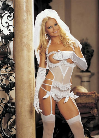 3-Piece Bride Set - One Size - White HOT-96288WHT