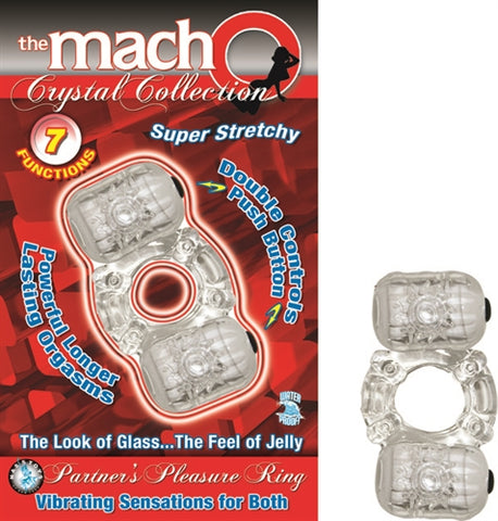 The Macho Crystal Collection Partners Pleasure Ring Clear NW2237