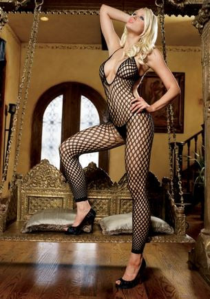 Crochet Net Footless Bodystocking - One Size - Black LA-89035