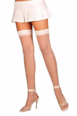 Sheer Thigh High - One Size - White EM-1725W