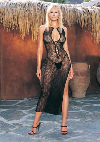 Swirl Lace Long Gown and G-String  - One Size - Black LA-8536