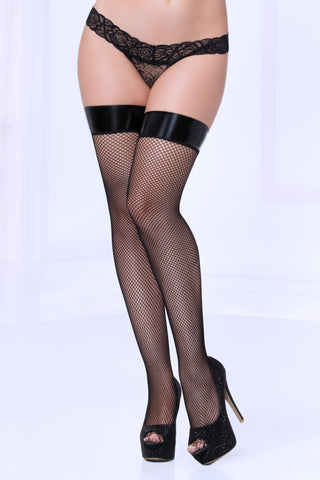 Fishnet Thigh Highs W/lame Top - Black - One Size STM-20470