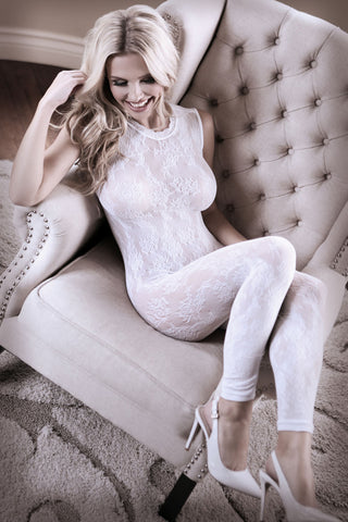 Worth the Wait Floral Bodystocking  - White - One Size FL-SF901WHT-OS