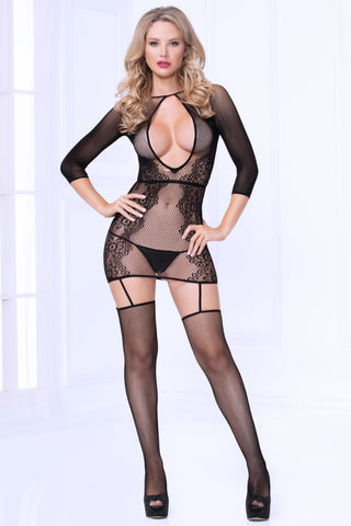 Fishnet Chemise Bodystocking - One Size - Black STM-20467