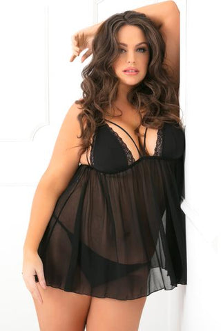 2pc Micro Manage Lace and Mesh Chemise Set - 1x2x - Black RR-52001X-BLK1X2X