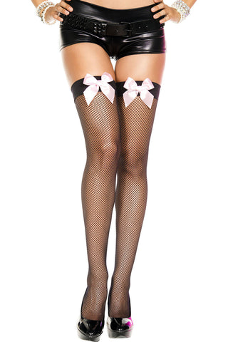 Satin Bow Fishnet Thigh Hi - One Size - Black /  Baby Pink ML-4912-BLKBBPK