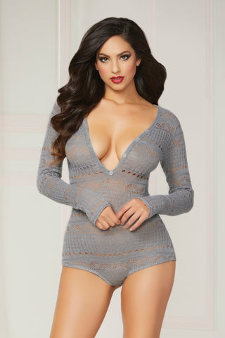 Knit Long Sleeve Romper  - Small  - Grey STM-10721-GRS