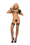 Fence Net Thigh Hi With Silicone Lace Top - One Size - Black EM-1757B