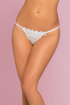 Penelope Floral Crochet Lace & Point d' Esprit  Thong - Large  - White STM-10781WHTL