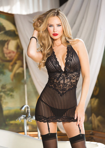 Sheer Stripe Mesh & Stretch Lace Gartered Chemise - One Size - Black HOT-96902BLK