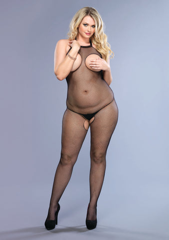 Halter Peek-a-Boo Fishnet Bodystocking - Queen Size - Black LA-8350Q
