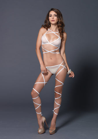 2 Pc. Wrap Around Fishnet Halter Top With Matching G-String - One Size - White LA-89149WHT