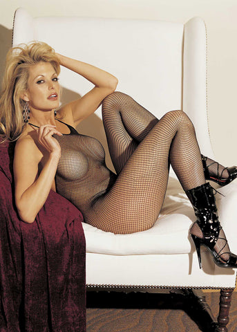 Fishnet Halter Tie Body Stocking With Open Crotch - One Size - Black HOT-90025BLK