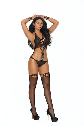 Crochet Teddy With Matching Stockings - One Size - Black EM-12007BLK