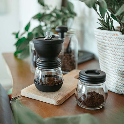 Manual Burr Coffee Grinder with Storage Jar