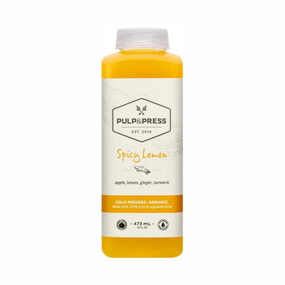 Pulp & Press Spicy Lemon. Cold Pressed Organic. Made with 100% fruit and vegetable juice. 473 ml.