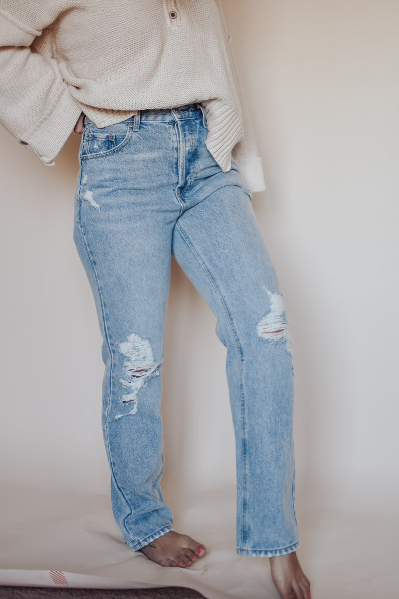 Addison Midrise Loose Fit Distressed Denim