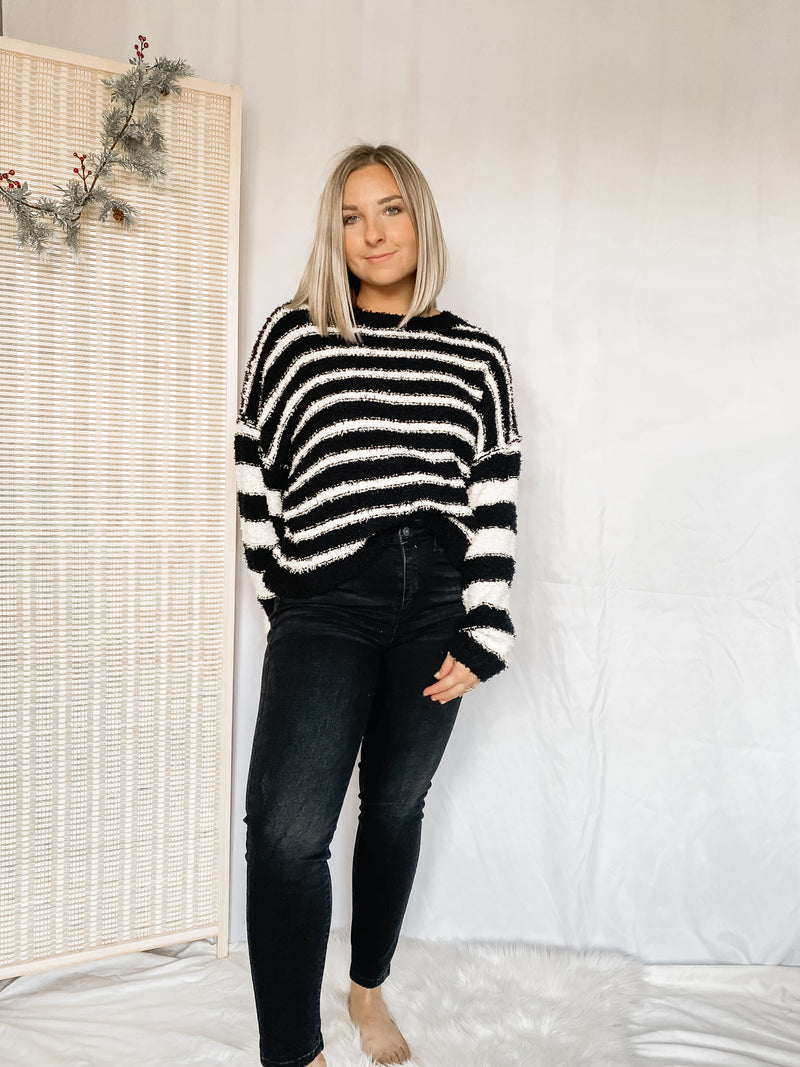 Fuzzy Striped Sweater