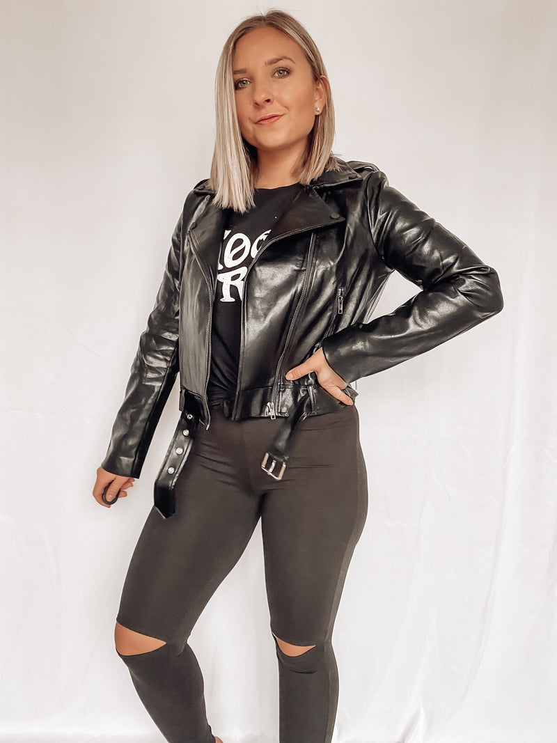 Faux Leather Belted Moto Jacket
