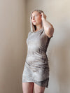 Rouched Mocha Tie Dye Dress