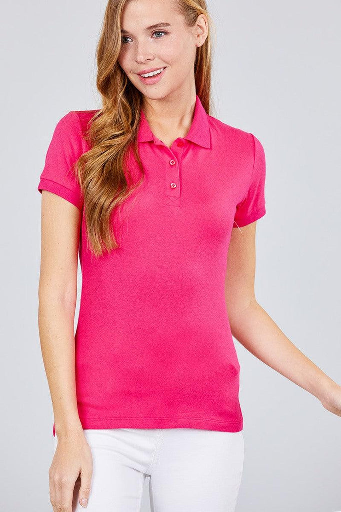 Classic Pique Spandex Polo Top - Naughty Smile Fashion